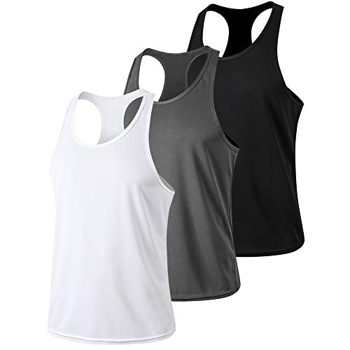 Men's Tank Tops, Cool Dry Workout Sleeveless T Shirts Gym Y-Back Athletic Tee Undershirt Running Fitness Muscle Bodybuilding