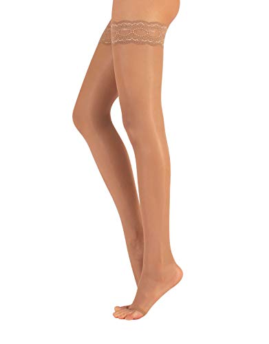 Calzitaly Open Toe Hold Ups, Sheer Womens Toeless Stockings, Made of Nilit Breeze Nylon for Summer Days and Nights