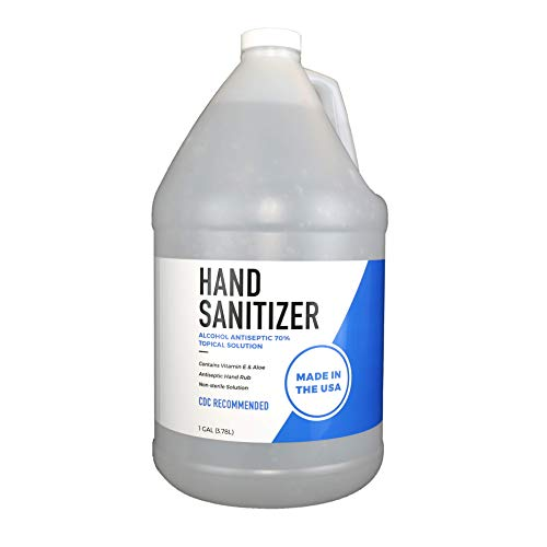 Gel Hand Sanitizer - 70% Ethyl Alcohol - Contains Vitamin E and Aloe - 1 Gallon Refill Jug - Screw Top, Pump Compatible - 100% BPA Free Bottle