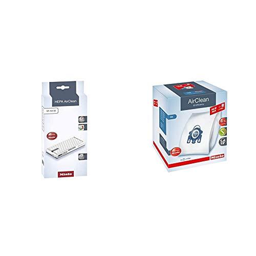 Miele HEPA AirClean SF-HA 50 & AirClean 3D XL-Pack GN Dust Vacuum Bag, White, 8 Count