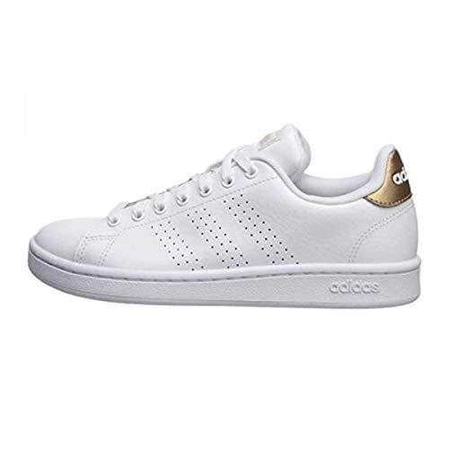 adidas Women's Cloudfoam Advantage Cl Sneaker, White/White/Copper Metallic, 7.5