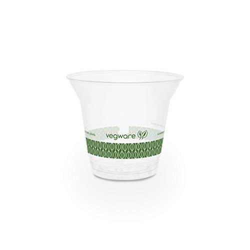Vegware Plant-Based Compostable 9oz Standard PLA Cold Cup, 96-Series (Case of 1000)