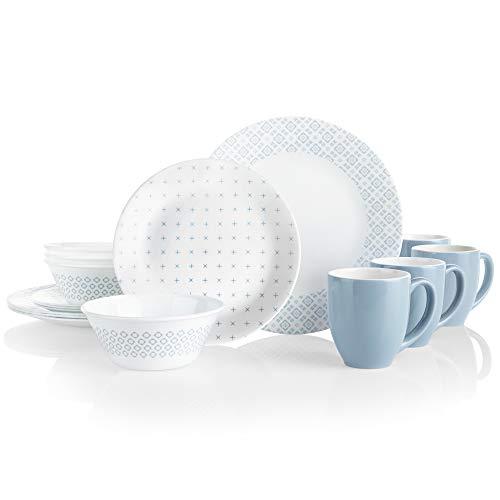 Corelle Boutique Farmstead Blue 16-Piece Chip Resistant Dinnerware Set, Service for 4