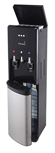 Primo hTRiO Bottom Loading Hot/Cool/Cold Water Dispenser with Single Serve Brewing, Black/Stainless