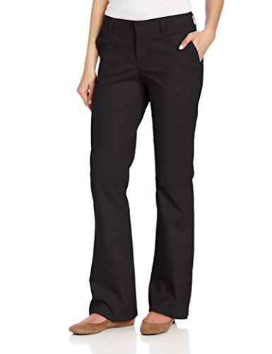 Dickies Women's Flat Front Stretch Twill Pant Slim Fit Bootcut, Black, 6 Regular