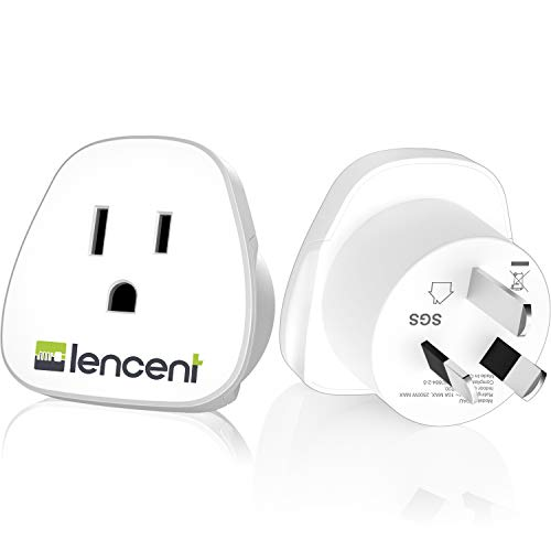 Australia China New Zealand Power Plug Adapter, LENCENT Travel Adaptor for US to Australia -Australian Outlet Charger Plug Converter - 2 Pack - Safe Grounded (Type I)