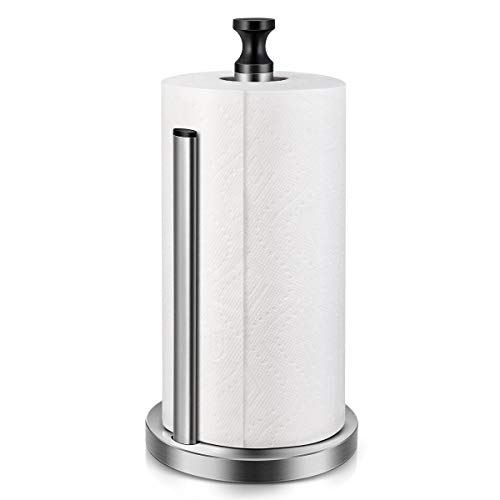 Homemaxs Paper Towel Holder Dispenser,Kitchen Paper Towel Holders Easy to Tear With Weighted Unti-Skid base and Spring Active Arm Stainless Steel