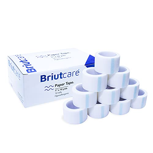 Medical Tape Surgical Paper Tape 1'x10 Yds (12 Pcs) by Briutcare | Hypoallergenic Fabric & Latex Free for Sensitive Skin | Micropore Adhesive First Aid Bandage