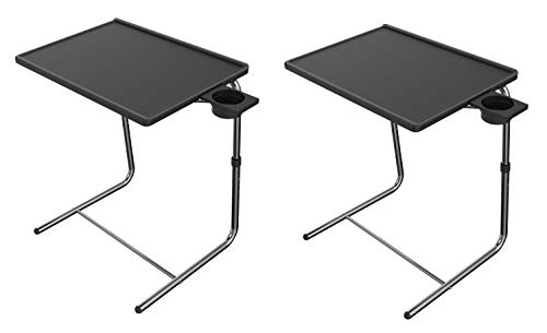 Adjustable TV Tray Table - TV Dinner Tray on Bed & Sofa, Comfortable Folding Table with 6 Height & 3 Tilt Angle Adjustments by HUANUO (2 pack)