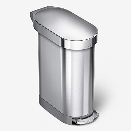 simplehuman 45 Liter / 12 Gallon Slim Hands-Free Kitchen Step Trash Can with Liner Rim, Brushed Stainless Steel