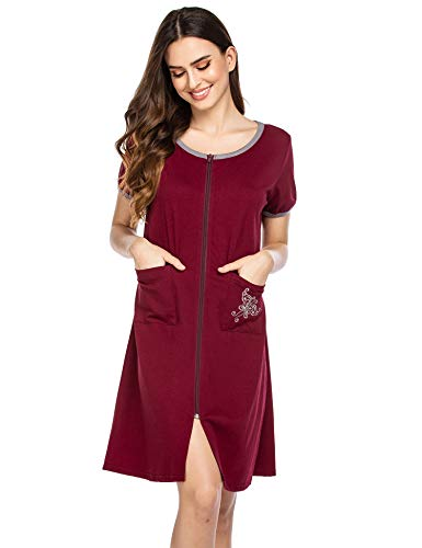 Ekouaer Women Zipper Front Housecoat Short Sleeve Zip up Robe Soft Short Nightgown Loungewear with Pockets