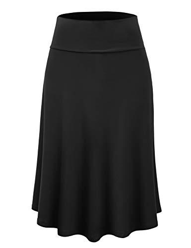 Lock and Love LL WB1105 Womens Lightweight Fold Over Flared Midi Skirt XL Black