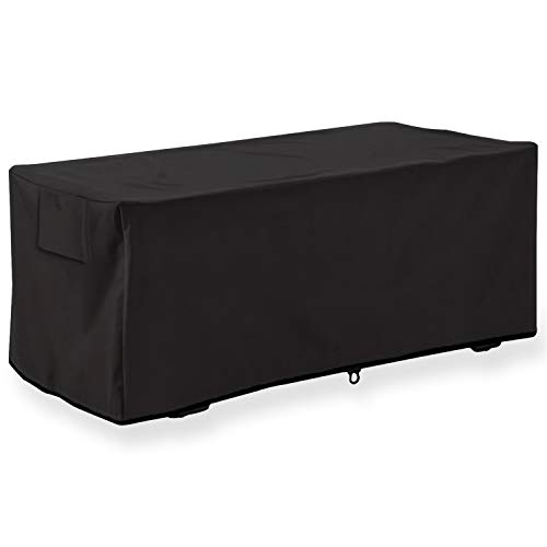 Leader Accessories Waterproof Deck Box/Storage Ottoman Bench Cover for Keter/Lifetime/Suncast/Rubbermaid Deck Box (L 52in Lx 28in Wx 25in H, Black)