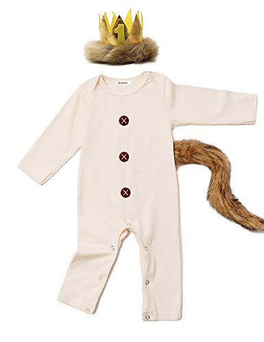 Baby Boys Girls Halloween Romper Lion Costume Outfits with Tail and Crown (Beige,12-18 Months)