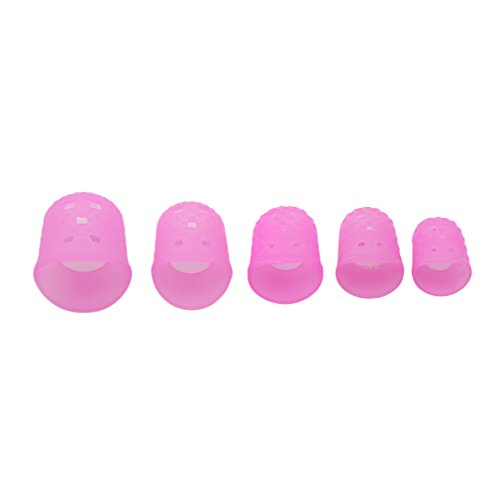 SOURBAN 15pcs Finger Protectors Silicone Finger Tips Rubber Protection Non-Stick Covers Gel Finger Cots for Hot Glue Gun Sewing Adhesives Scrapbooking Instrument,Pink