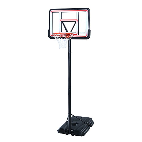 Lifetime Pro Court Height Adjustable Portable Basketball System, 44 Inch Backboard, Red/White