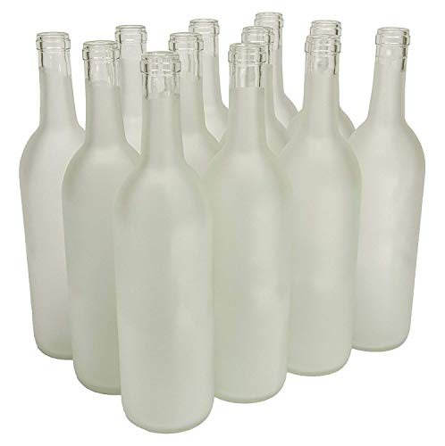 750 ml Clear Frosted Glass Bordeaux Bottles, 12 per case