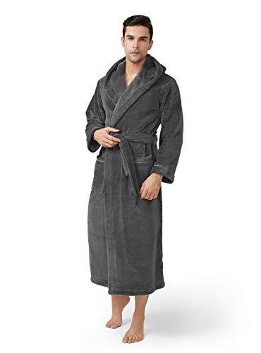 DAVID ARCHY Men's Hooded Robe Plush Coral Fleece Warm Cozy Big and Tall Long Bathrobe (XL, Dark Gray)