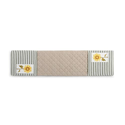 DEMDACO Sunflower Blooms Green Stripe 30 x 8 Cotton Blend Fabric Double Oven Mitt
