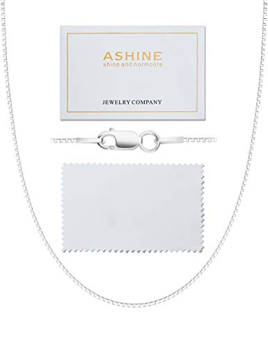 ASHINE Sterling Silver Chain Necklace for Women 1mm Box Chain Lobster Clasp 22 Inches