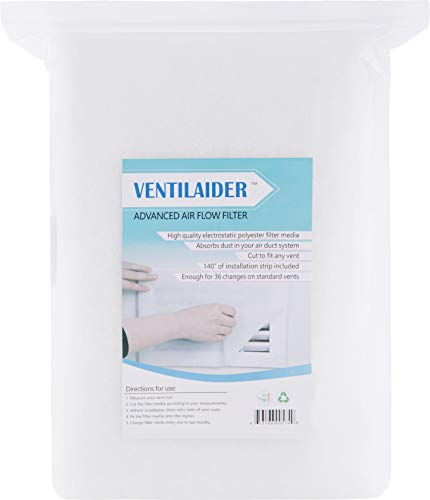 Ventilaider Complete Air Vent Filter Set 12' x 140' Electrostatic Media With 140' of Installation Tape 36+ Filters per Roll for HVAC, AC & Heating Intake Registers & Grilles to Reduce Dust and Allergy, Easy to Cut Width