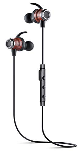 Symphonized DRV Genuine Wood Bluetooth Wireless Active Earbuds, Lightweight Noise-Isolating Headphones with Angle-Fit Ear Tips, Sport Earphones with Mic and Volume Control, Secure Fit Buds (Black)