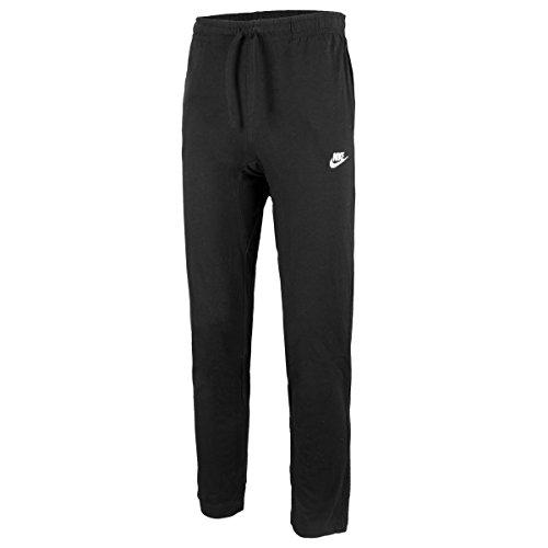 Nike Mens Open Hem Club Cotton Jersey Light Sweatpants Black/White Large