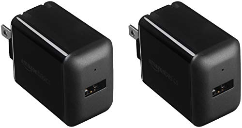 AmazonBasics One-Port 12W USB Wall Charger for Phone, iPad, and Tablet, 2.4 Amp, Black (2-Pack)