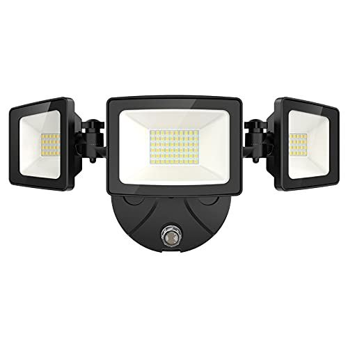 Onforu 50W LED Dusk to Dawn Security Lights, 5000LM Exterior Flood Lights, IP65 Waterproof Outdoor 3 Adjustable Heads Photocell Lights Fixture, 5000K Daylight White Floodlights for Garage, Patio, Yard