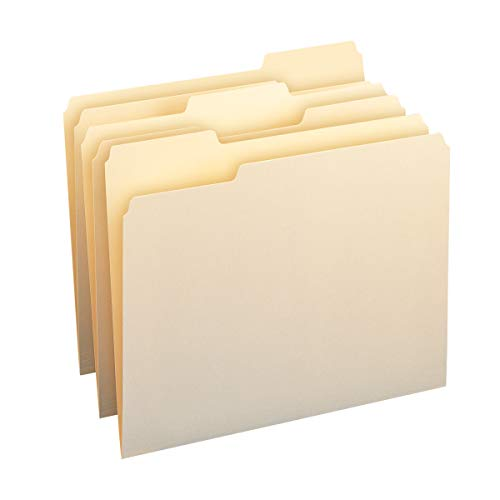AmazonBasics 1/3-Cut Tab, Assorted Positions File Folders, Letter Size, Manila - Pack of 100