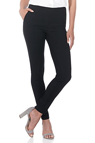 Rekucci Women's Ease into Comfort Modern Stretch Skinny Pant with Tummy Control (4,Black)