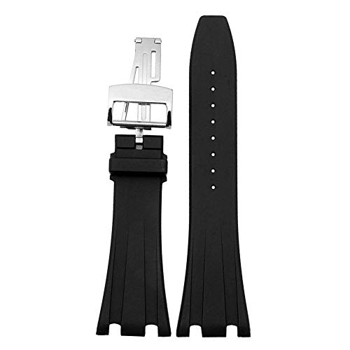 ZHUOLEI AP Watch Band(Silicone Black) Replacement Watch Strap Quick Release Deployment Butterfly Buckle with Tool 26mm/28mm