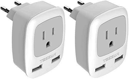 European Plug Adapter 2 Pack, TESSAN International Travel Power Outlet Adaptor with 2 USB, Type C Charger from USA to Most of Europe EU Spain Iceland Germany France Italy Israel