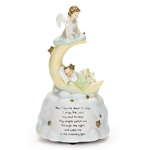 Sweet Dreams Guardian Angel Baby Prayer Musical Music Figurine Statue Plays Brahm's Lullaby