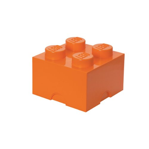 LEGO Storage Brick 4 – Stackable, Large Capacity Organizer for LEGO Building Blocks, Minifigures, and Other Toys  Space Saving Container - For Ages 3+, 4 – Stud, Bright Orange