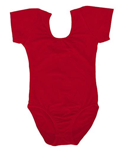 Dancina Red Leotard Girls Short Sleeve Soft Comfy Full Front Lined Ballet Unitard 10 Red