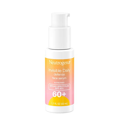 Neutrogena Invisible Daily Defense Face Serum with Broad Spectrum SPF 60+ to Help Even Skin Tone, Oil-Free, Non-Greasy, Antioxidant Complex for Environmental Aggressors, 1.7 fl. Oz