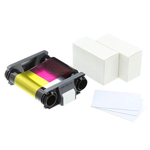 Evolis Badgy 100-200 Color Ribbon YMCKO - CBGP0001C - 100 Prints with Bodno Premium CR80 30 Mil Graphic Quality PVC Cards - Qty 100
