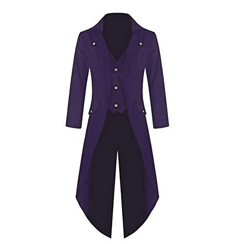 YOCheerful Men Women Coat Tuxedo Coat Formal Suit Tailcoat Jacket Uniform Costume Praty Outwear Vintage Trench Coat Overcoat (Purple,US-XS/Label-S)