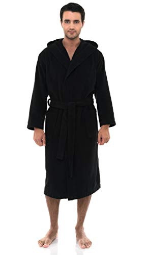 TowelSelections Men's Robe, Turkish Cotton Hooded Terry Bathrobe Medium/Large Black