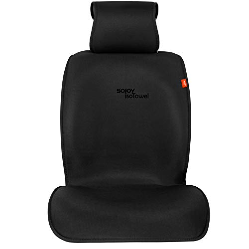 Sojoy IsoTowel Car Seat Cover. Microfiber Breathable Cloth Seat Protector, with Quick-Dry, No-Slip Technology. Car seat Protection for All Workouts, All-Weather (Carbon Black)