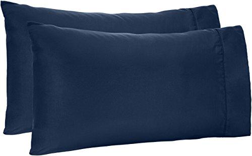 AmazonBasics Light-Weight Microfiber Pillowcases - 2-Pack, Standard, Navy Blue