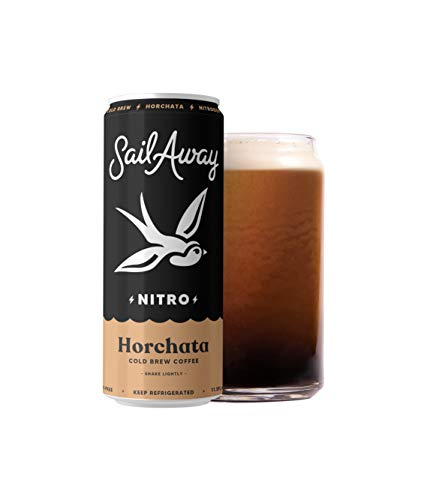 Sail Away Coffee Co. | Horchata Nitro Cold Brew Coffee | Low Sugar, Gluten Free & Non-Dairy | Organic | Draft Nitrogen Pour, Clean Energy, Low Acidity | 11.5oz (6 pack)