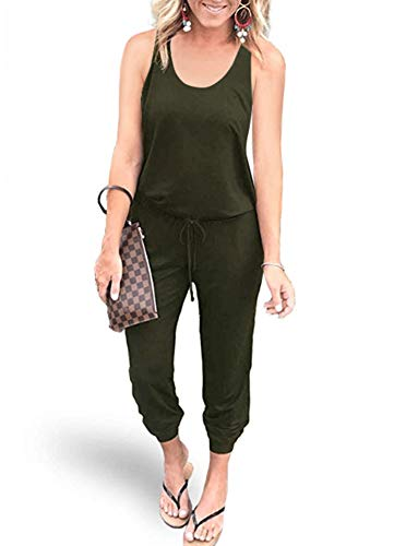 REORIA Women Summer Casual Sleeveless Tank Top Elastic Waist Loose Jumpsuit Rompers with Pockets Plus Size Army Green X-Large