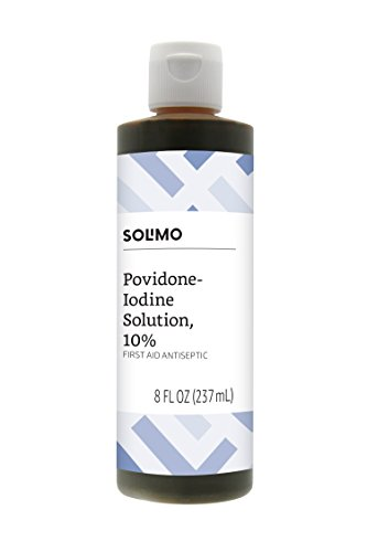 Amazon Brand - Solimo 10% Povidone Iodine Solution First Aid Antiseptic, 8 Fl Oz