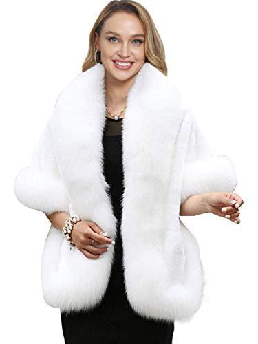 Caracilia Women's Faux Fur Coat Wedding Cape Shawl for Evening Party bai
