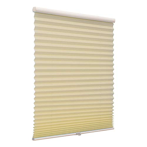 Blackout Cordless Pleated Window Shades, Free Stop Custom Made Any Size from 20-78inch Wide UV Protection Beige Window Blinds, 40' W x 72' L