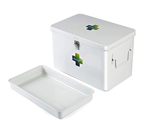 """Metal Medicine Lock Box by Invent Smart FirstAidContainerOrganizerEmpty with Drug Tray-First Aid Medicine Box-White VintageMedicineBox with DIY Cross'+' Sticker-Large Size 12.5""""x7.6""""x8"""" inches"""