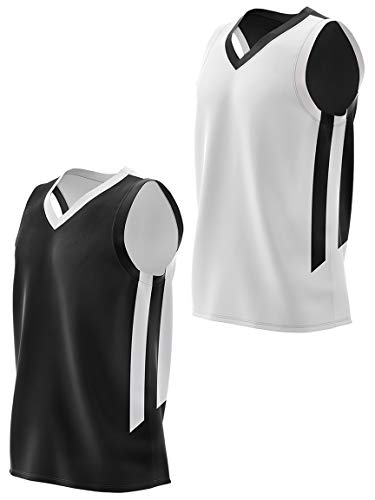 Youth Boys Reversible Mesh Performance Athletic Basketball Jerseys Blank Team Uniforms for Sports Scrimmage (1 Piece) (Blk/Wht, Youth Small)