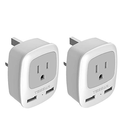 UK Hong Kong Ireland Travel Plug Adapter 2 Pack, TESSAN Type G Power Outlet Adaptor with 2 USB for USA to London Scotland Dubai British England Irish